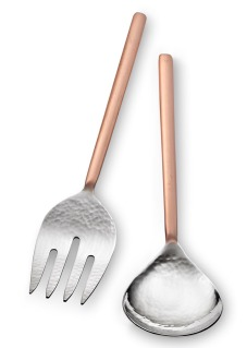 HVF 001.1 - Versa Salad Serving Set w Copper Handles 11in